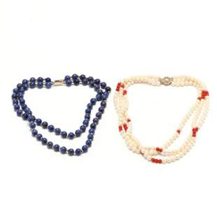 A Pearl and Coral Necklace and a Lapis Bead Necklace