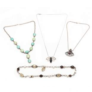 Four Sterling Silver and Gem-Set Necklaces