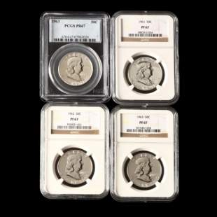 Four Early 1960s Proof Franklin Halves Graded Proof 67