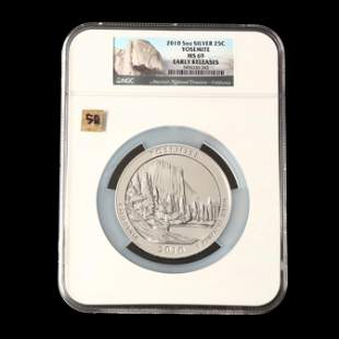2010 Yosemite Five Ounce Silver Quarter, NGC MS69 Early