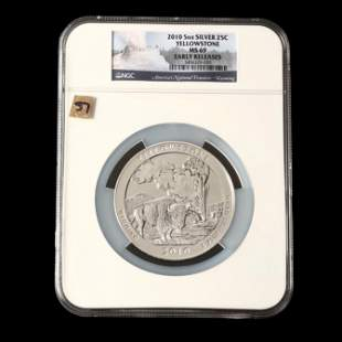 2010 Yellowstone Five Ounce Silver Quarter, NGC MS69