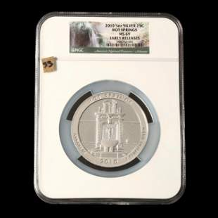 2010 Hot Springs Five Ounce Silver Quarter, NGC MS69
