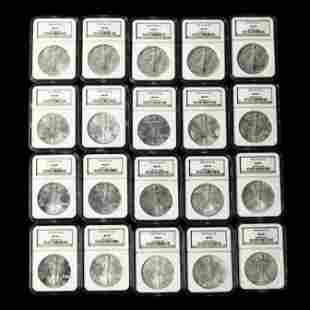 Twenty (20) Consecutive American Silver Eagles,