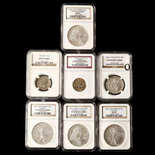 Seven NGC-Graded Modern Coins, Six Silver and Two Clad