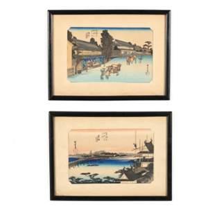 Utagawa Hiroshige (Japanese, 1797-1858) Two Woodblock