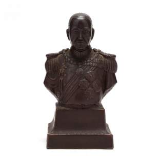 A Ceramic Bust of a Japanese Emperor