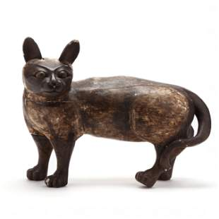 Southeast Asian Life-Size Carved and Painted Siamese