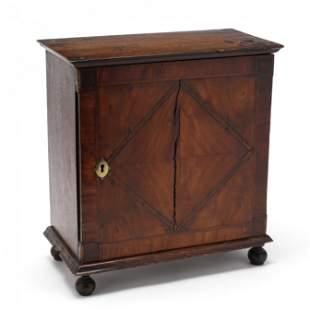 Antique English Inlaid Oak Spice Cabinet