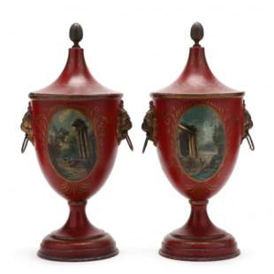 Pair of Antique Regency Style Toleware Covered Urns