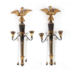 Pair of Italian Carved and Gilt Eagle Sconces