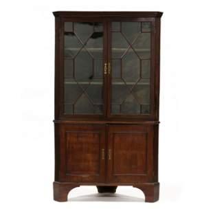 George III Mahogany Corner Cupboard