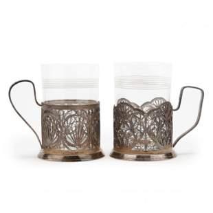 Two Russian Silverpate Tea Glass Holders