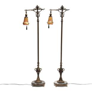 Pair of Vintage Floor Lamps with Art Glass Shades