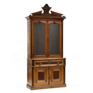 American Victorian Walnut Secretary Bookcase