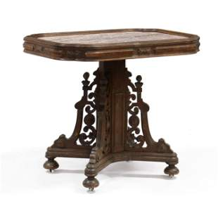 Renaissance Revival Walnut and Marble Top Center Table