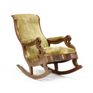 att. Thomas Day, Carved Mahogany Rocking Chair