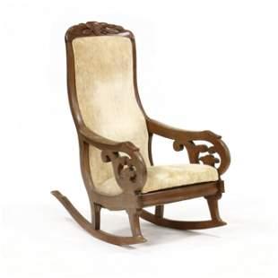att. Thomas Day, Carved Walnut Rocking Chair