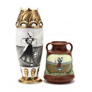 Two Austrian Pottery Figural Vases, Julian Dressler