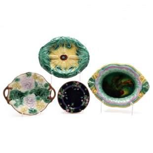 Four Antique Majolica Pieces