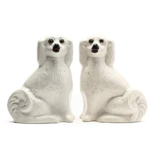 A Pair of Facing Staffordshire Spaniels