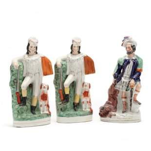 Three Large Staffordshire Figurines of Huntsman