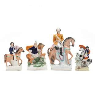 Four Staffordshire Equestrian Figurines