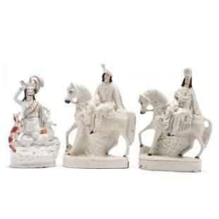 Three Staffordshire Figurines of Stag Hunters
