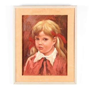 Midcentury Portrait of a Tearful Young Girl