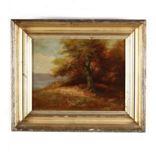 An Antique American School Autumnal Landscape Painting