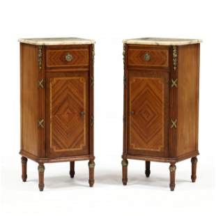 Pair of Louis XVI Style Marble Top Cabinets
