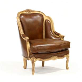 Louis XV Style Leather Upholstered Bergere