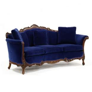 Vintage French Style Carved and Inlaid Sofa
