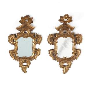 Pair of Antique Italian Rococo Style Carved and Gilt