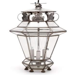 Tin and Glass Hanging Lantern