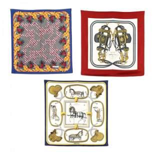 Three Fashion Scarves, Tiffany and Hermes
