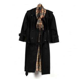 Two Burberry Items, a Raincoat and Scarf