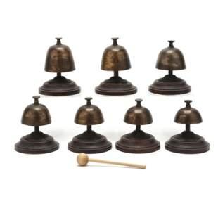 Vintage Set of Seven Mounted Asian Brass Bells