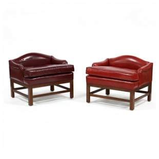 Tomlinson, Pair of Chippendale Style Leather Stools