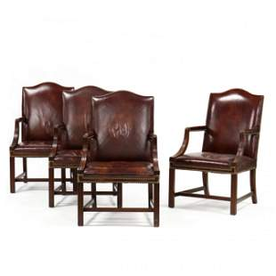 Hickory Chair, Set of Four Leather Lolling Chairs