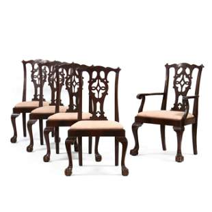 Set of Five Chippendale Style Carved Mahogany Dining