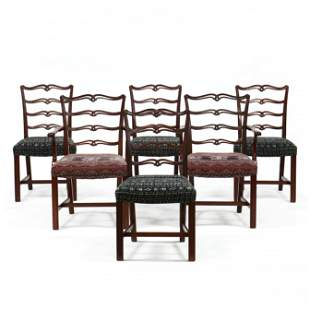 Set of Six Chippendale Style Ribbon Back Dining Chairs