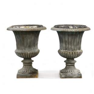 Large Pair of Classical Style Iron Garden Urns