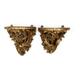 Near Pair of Antique Rococo Style Gilt Wall Brackets