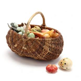 Vintage Basket of Stone Fruit