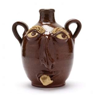 NC Folk Pottery, Billy Ray Hussey, Two Handled Face Jug