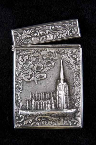"8: Silver ""Castle Top"" Card Case by Nathaniel Mills"