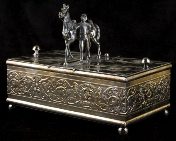 13: Silverplate Horse & Jockey Humidor by Derby