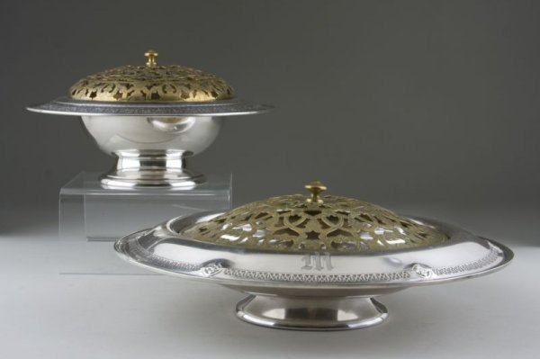 24: Two American Sterling Centerbowls with Frogs