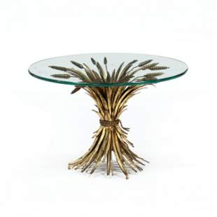 Vintage Italian Gilt Sheaf of Wheat Side Table