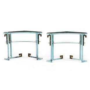 Pair of Hollywood Regency Metal and Glass Corner Stands